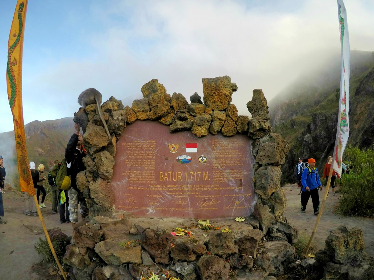 Official plaque recognizing the height of this mountain - 1,717 m.