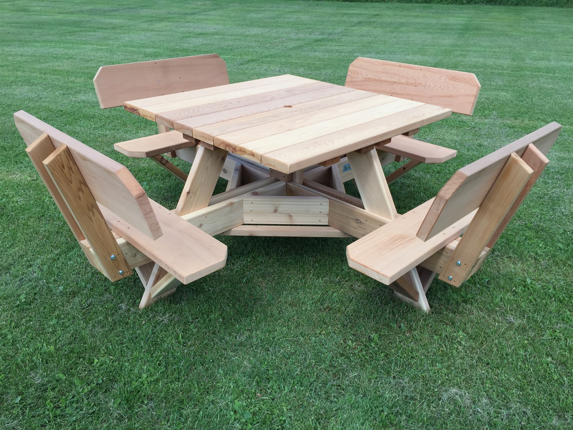45 square picnic table with backs on seats