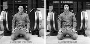 Portrait assis Hasselblad 500C vs Mamiya C330F Tri-X
