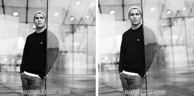 Portrait debout Hasselblad 500C vs Mamiya C330F Tri-X