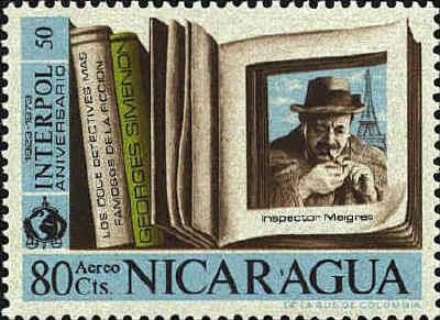 Nicaraguan stamp showing Maigret lighting his pipe