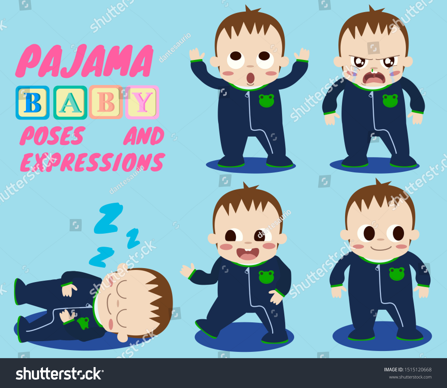 stock-vector-pajama-baby-poses-and-expressions-1515120668