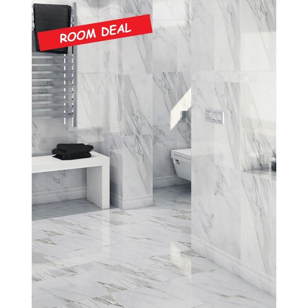 20m2 matt carrara marble effect 30cm x 60cm wall floor tile