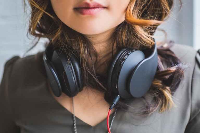 woman, head, lips, headphones