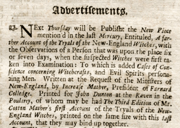 Advertisement published in John Dunton's newsletter, The Athenian Mercury, concerning the forthcoming book