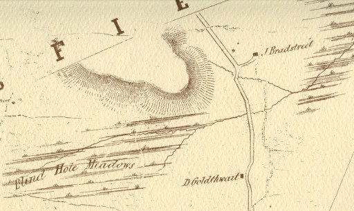 The Bradstreet house shown on an 1852 map