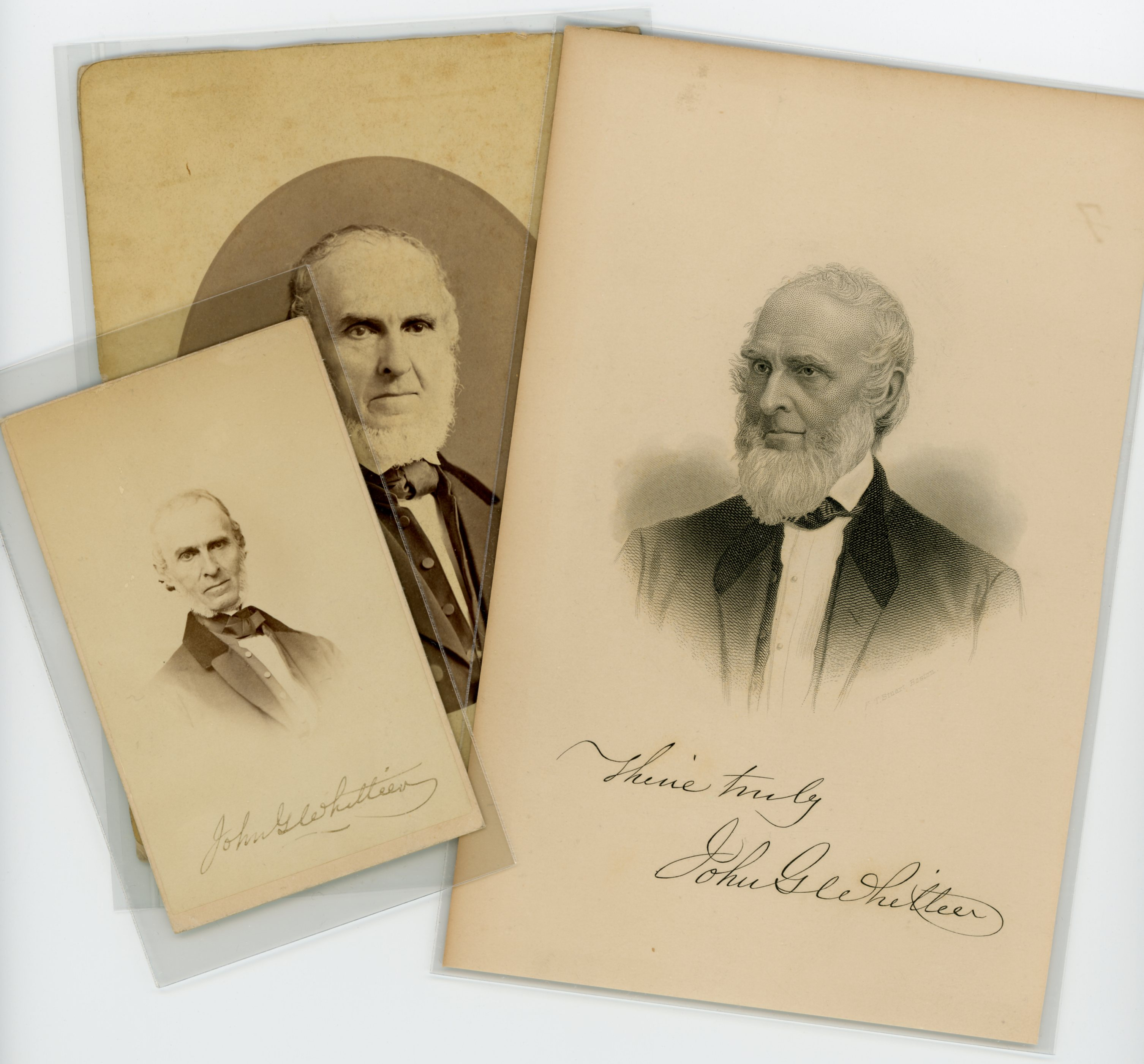 Fifteen Photographs And Prints Were Purchased Including A Carte De Visite Photograph Of John Greenleaf Whittier Signed By