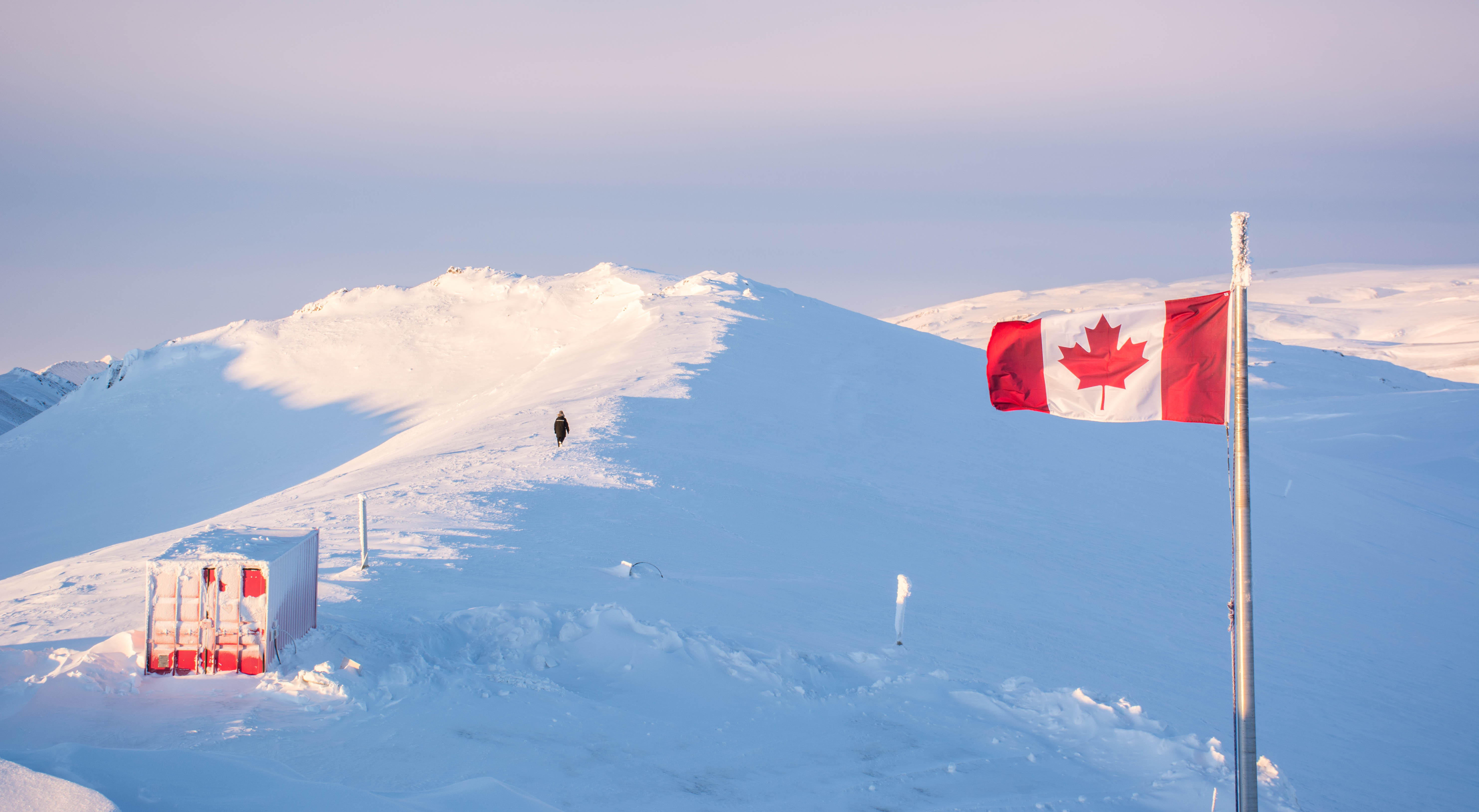 High Arctic Canadian Flag and hiker