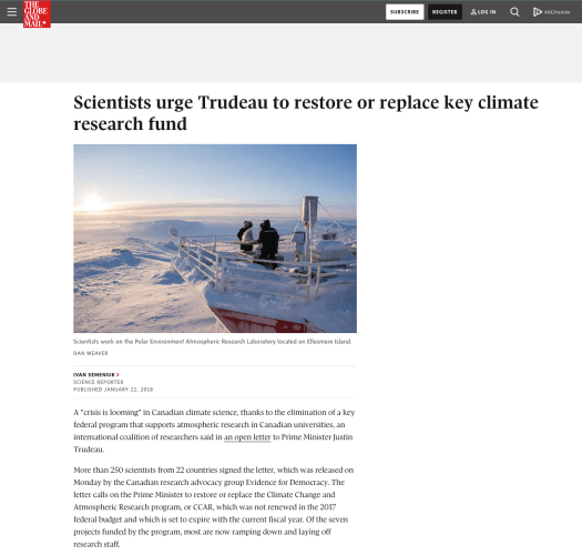 The Globe and Mail article (Jan. 2018) Canadian researchers lift off the cover of a sun tracking instrument on the roof of the PEARL Ridge Lab Photo by Dan Weaver