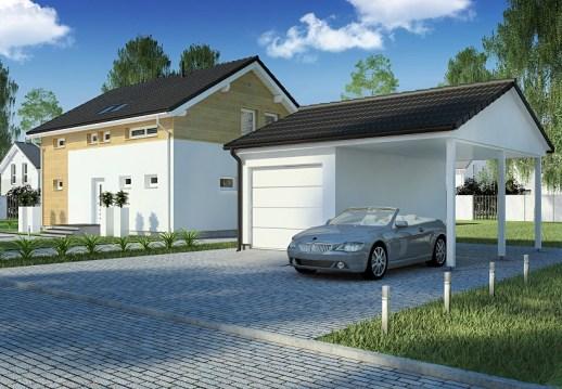 Garage mit carport satteldach  Einzelgarage mit Satteldach und integriertem Carport EG-STC | DAN ...
