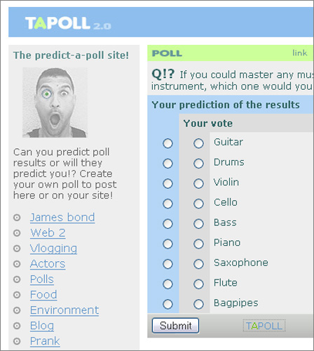 Tapoll - voting and predicting tool