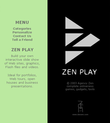 one of the series of zen tools created zen play lets you store a series of web pages and play them back as a slide show at various speeds