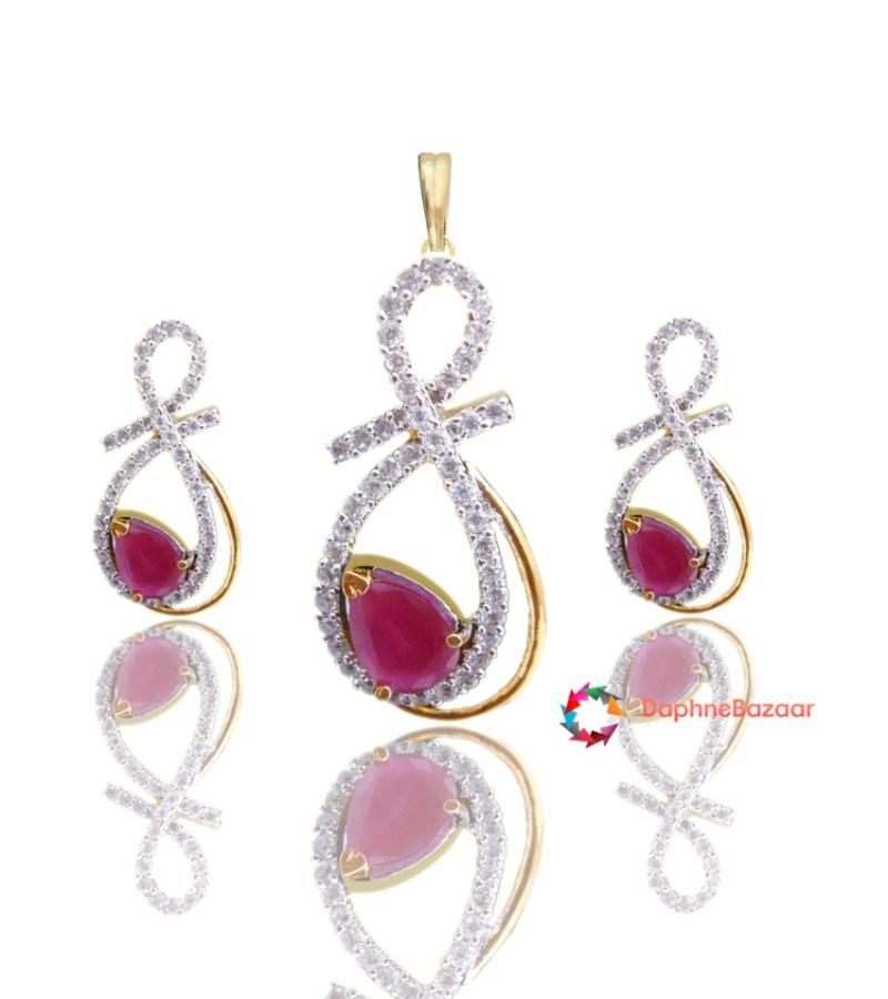 Ruby american diamond pendant and earrings ruby american diamond pendant and earrings set image aloadofball Image collections
