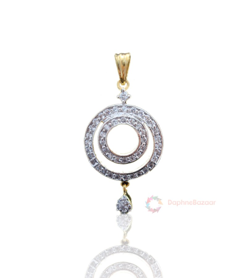 American diamonds round shape pendant and earrings american diamonds round shape pendant aloadofball Image collections
