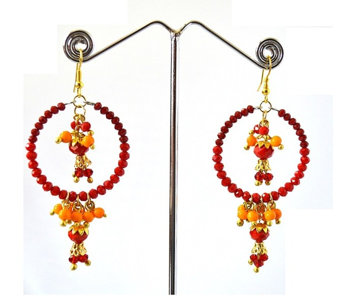 Daphne Red Maroon Beads Chandelier Earrings For Women Light Weighted
