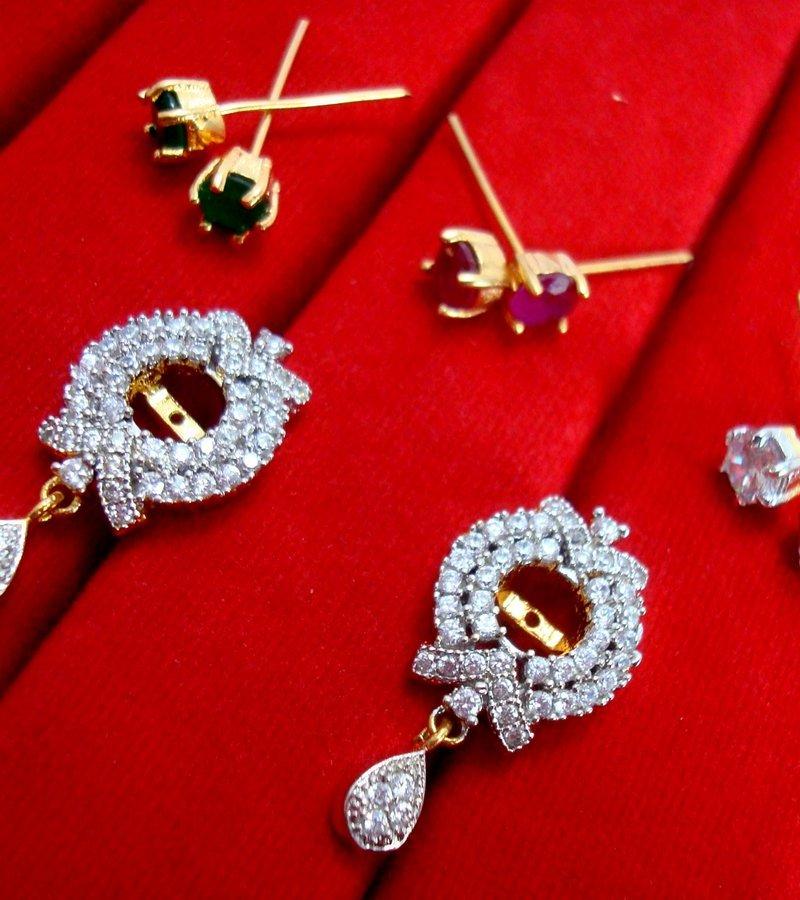 32c64edb6 ... Daphne Six In One Changeable Zircon Earrings for Women - Frame