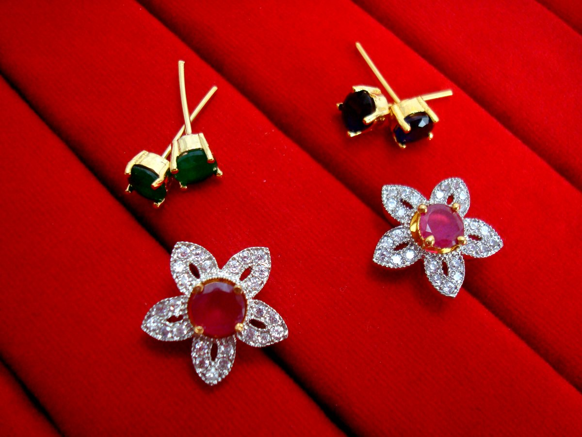 0292c4e66 6 in 1 Cute Flower Changeable Studded Zircon Earrings - PINK ...