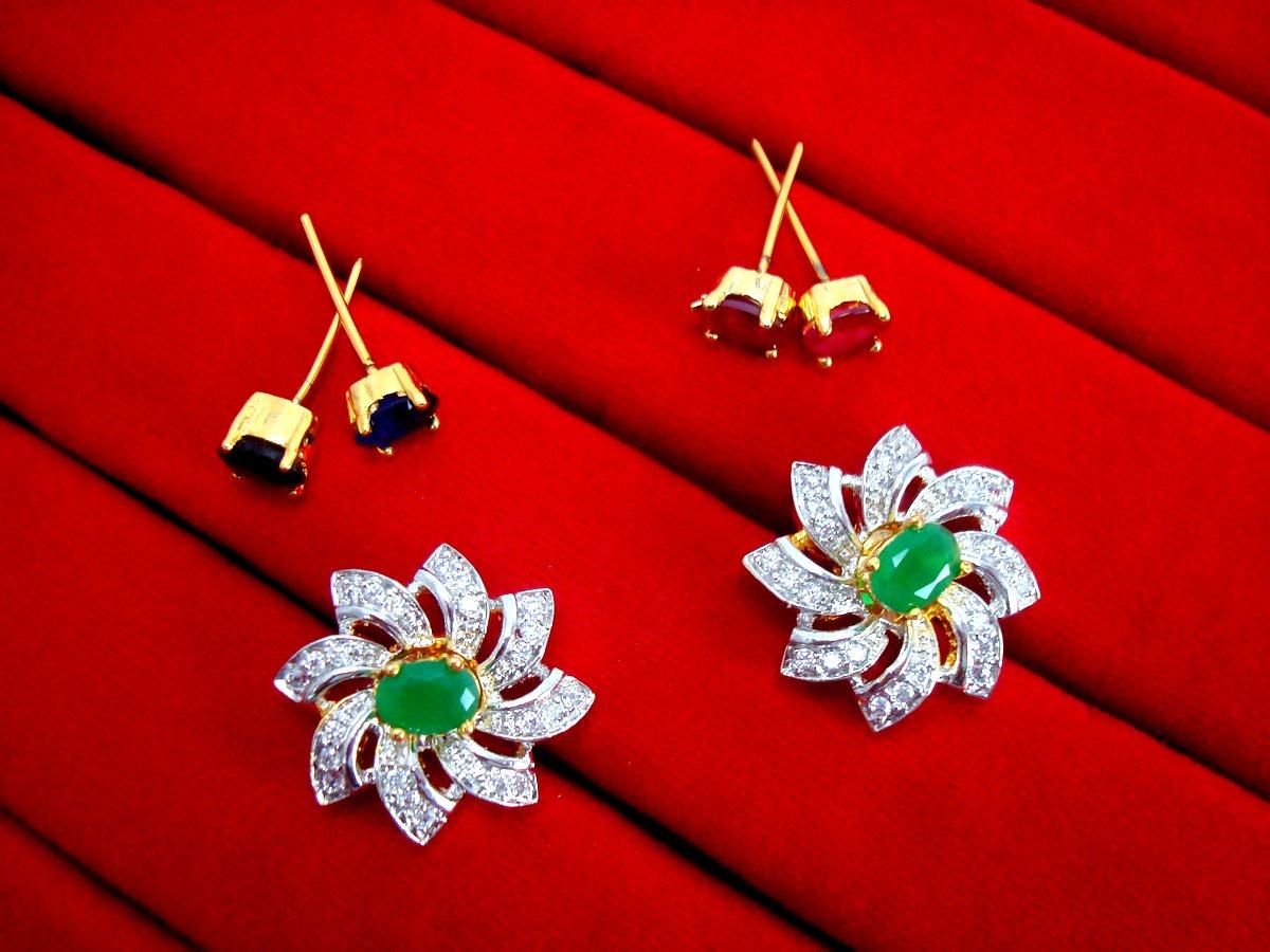 3ea61e88f 6 in 1 Studded Zircon Earrings for Women - Green for Rakhi Gift