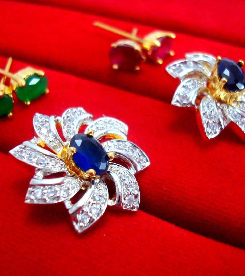 bcd7bca12 6 in 1 Studded Zircon Earrings for Women - for Rakhi Gift