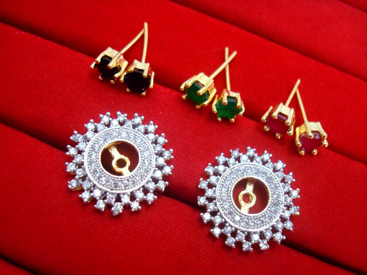 SixInOne Changeable Studded Zircon Earrings for Women 575468f747