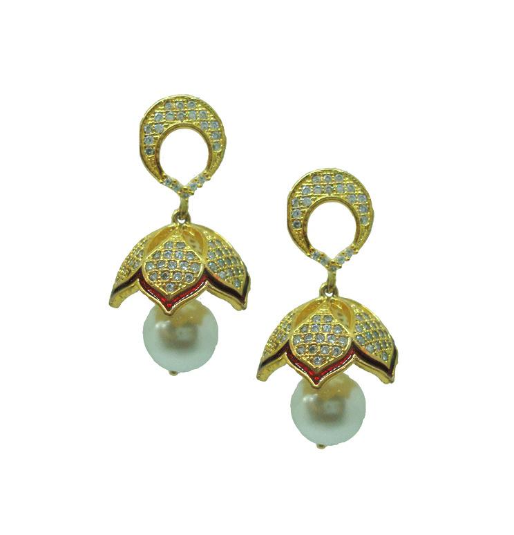 Jm57 Daphne Maroon Lavish White Drop Jhumki Earrings Wedding Gift