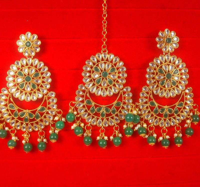 Wedding Wear Designer Green Maroon Earring Maang Set For Bridal