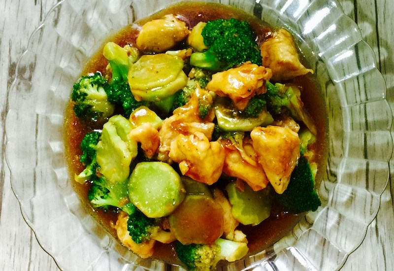 stir-fried chicken and broccoli