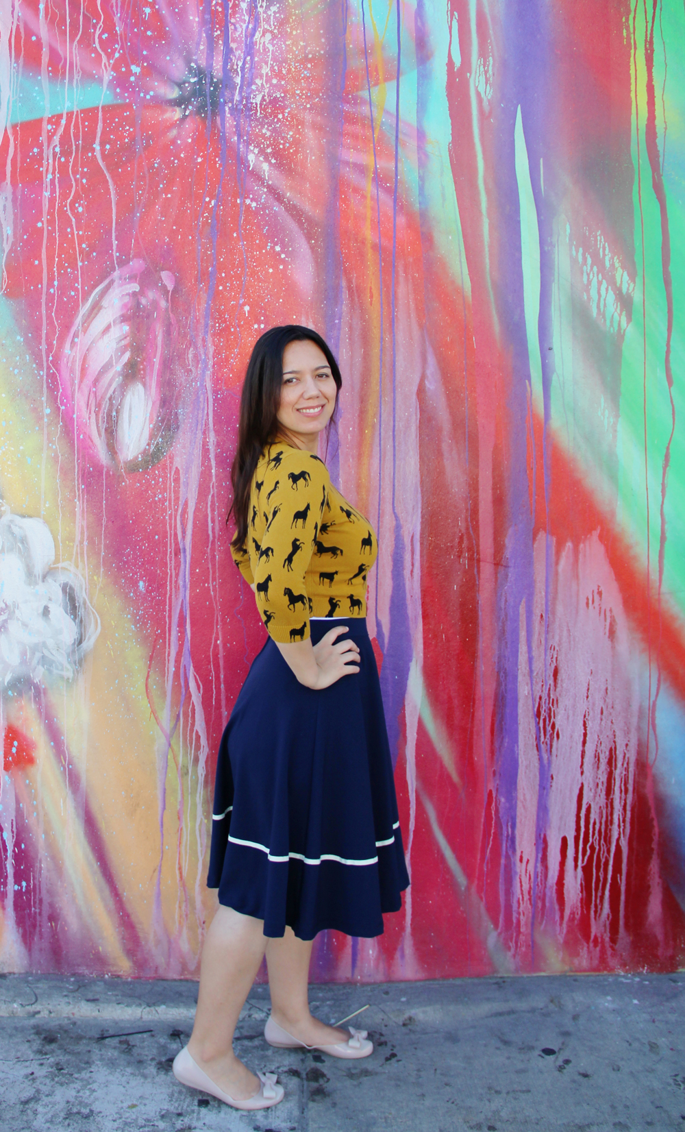 Horse all over pattern sweater in mustard with navy midi skirt and nude flats