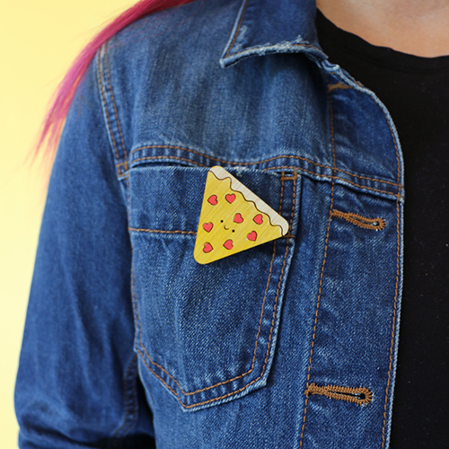 Kawaii Pizza Pin with hearts handmade wooden pin.