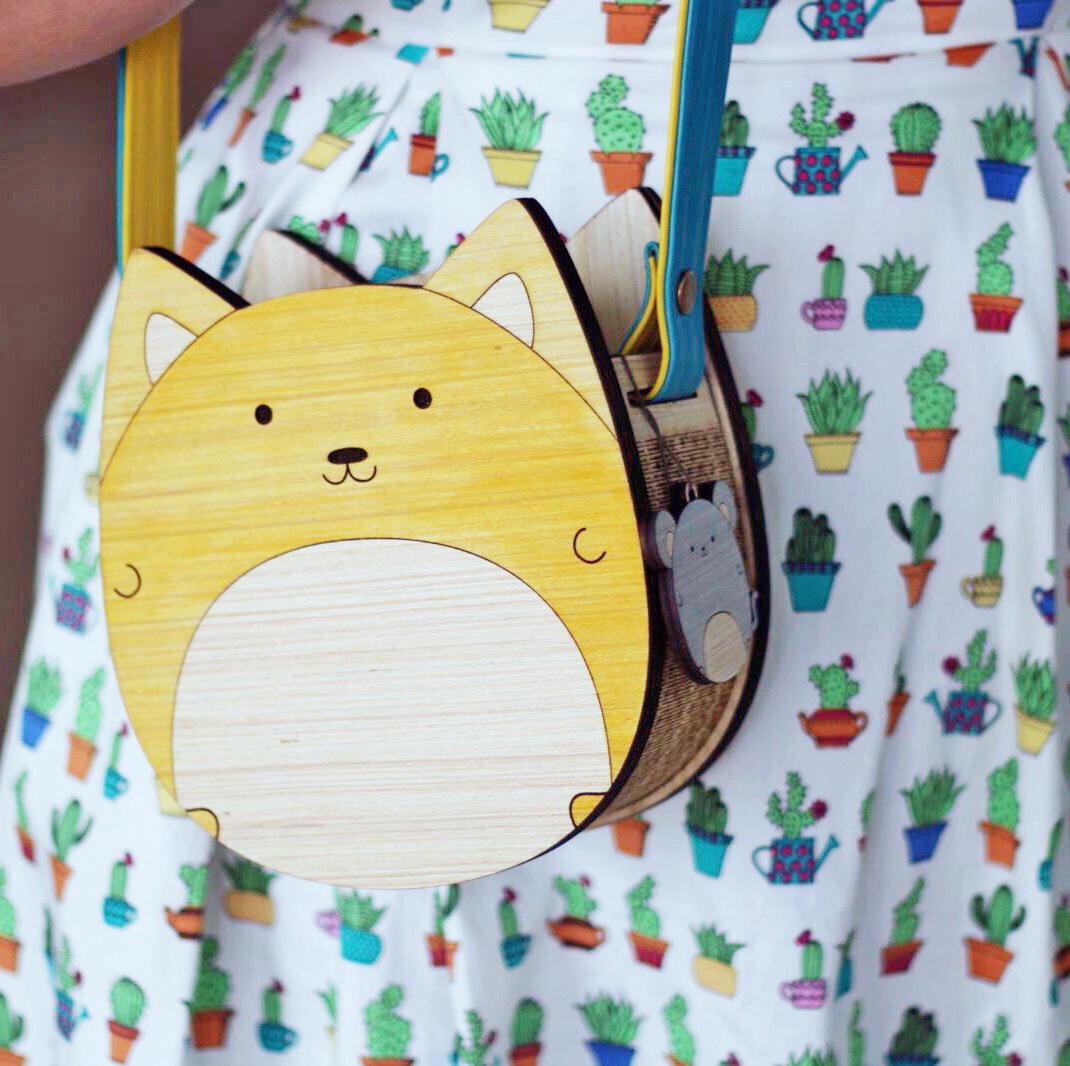 Wooden Cat Purse or Corgi Purse Kawaii Cute