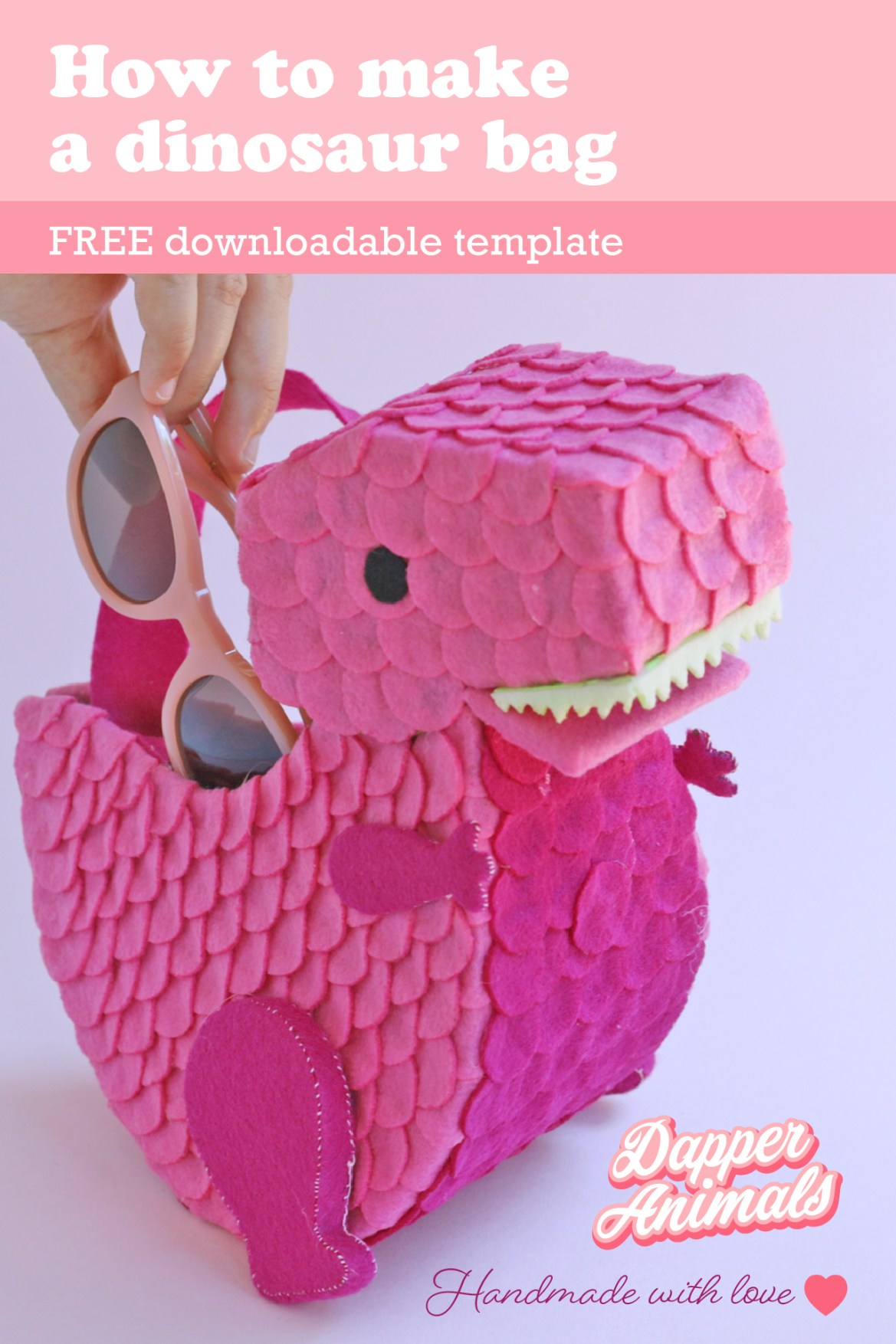 Step by Step tutorial to make an adorable felt dinosaur purse