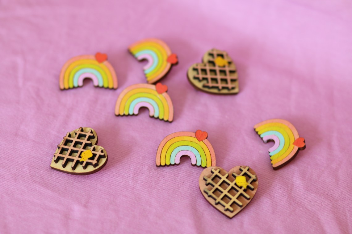 Cute Rainbow with heart wooden pin. Hand-painted by Dapper Animals