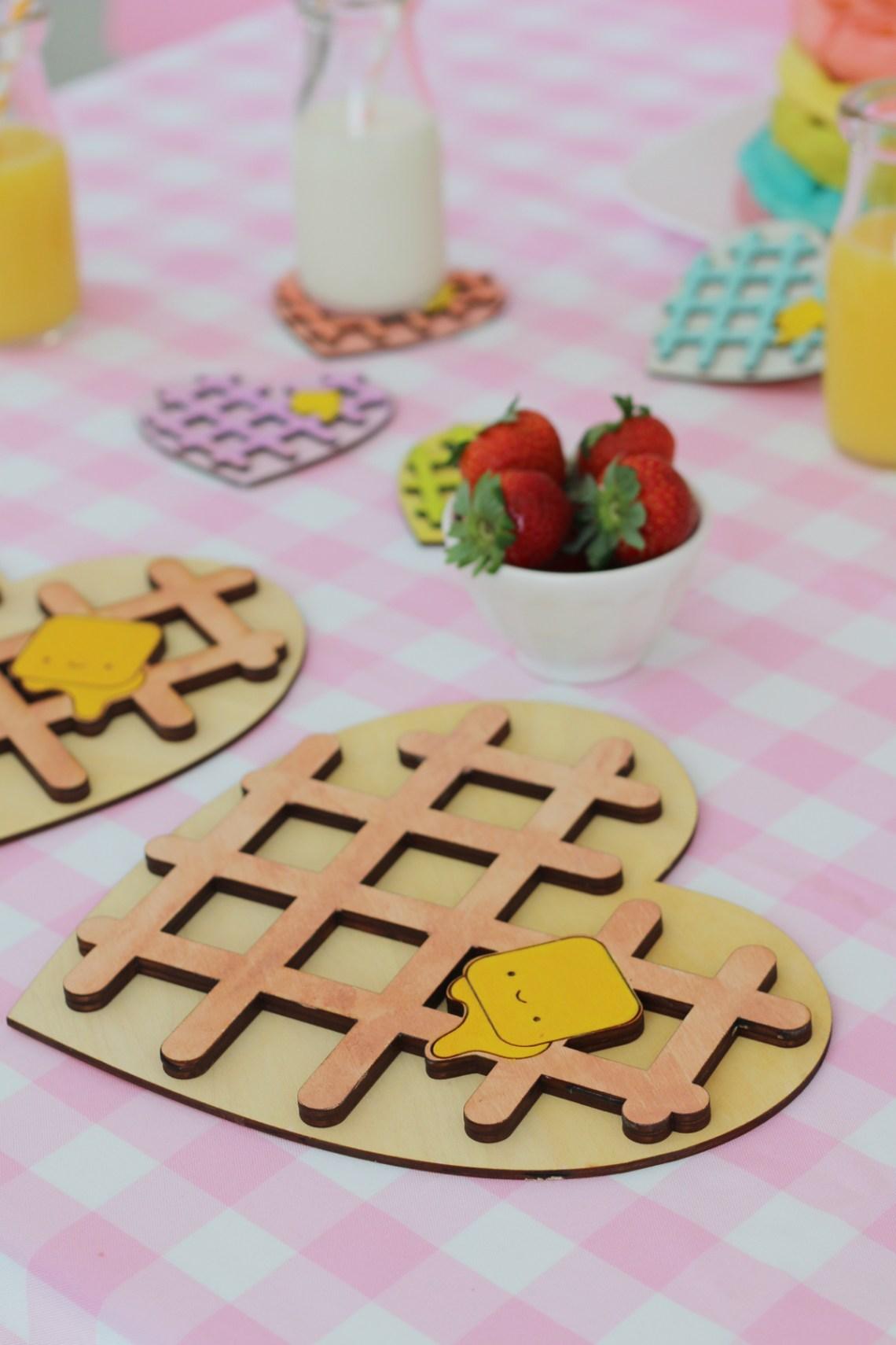 Kawaii Heart Shaped waffle trivet and coaster with rainbow waffle stack. So cute