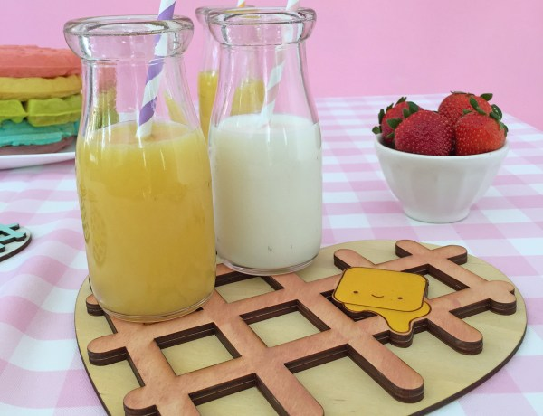 Kawaii Heart Shaped waffle trivet and coaster with rainbow waffle stack. So cute