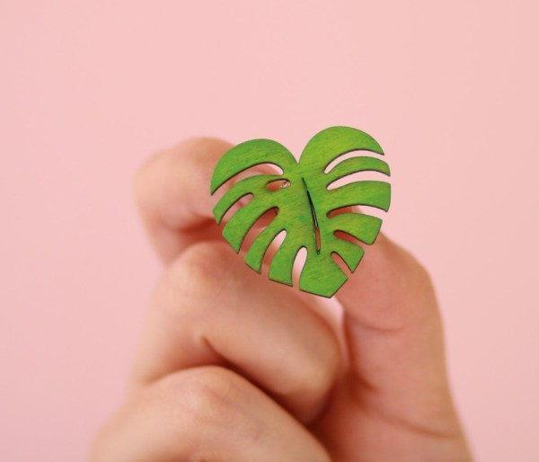 Cute Green Heart Monstera Leaf Pin Brooch- Wood, Hand painted