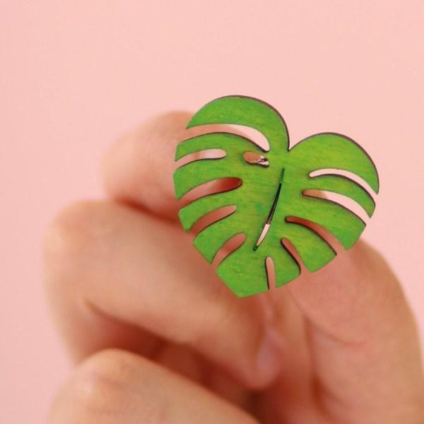 Cute Green Heart Monstera Leaf Pin Brooch- Wood, Hand painted