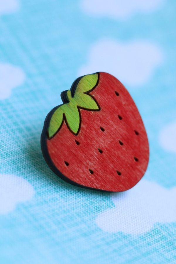 Cute strawberry pin brooch - wooden and hand painted
