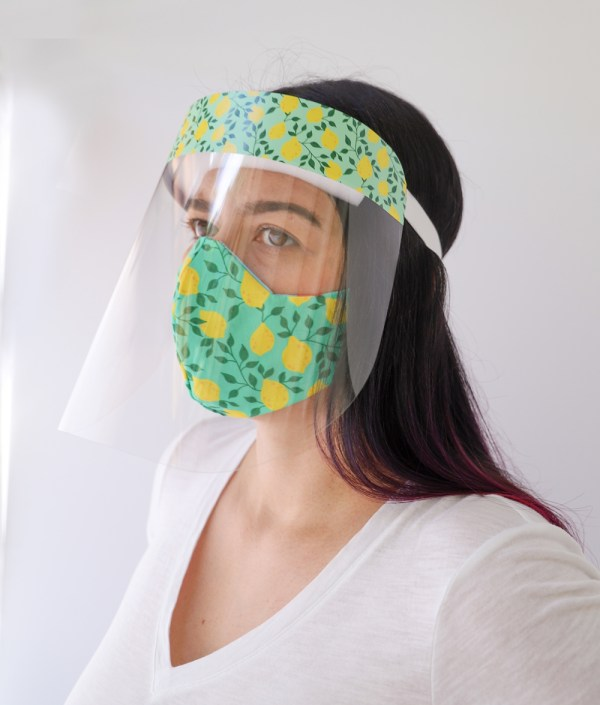 Lemons Face Shield with matching Lemon Reversible, double Sided Cotton Washable Adult Face Mask,Breathable Reversible Mask,Handmade in USA Face Mask