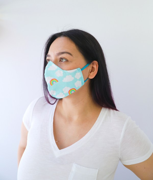 Rainbows Reversible, double Sided Cotton Washable Adult Face Mask,Breathable Reversible Mask,Handmade in USA Face Mask