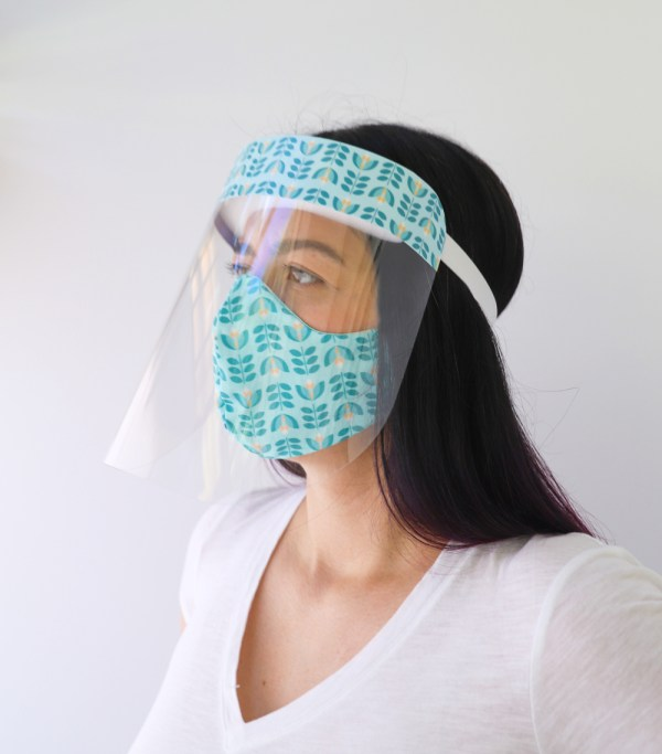 Tulips Face Shield with matching Tulips Reversible, double Sided Cotton Washable Adult Face Mask,Breathable Reversible Mask,Handmade in USA Face Mask