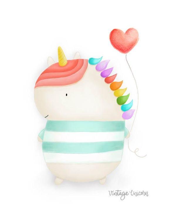 Unicorn Heart Balloon Print