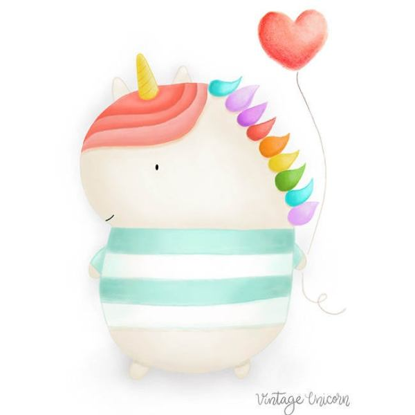 Unicorn Heart Balloon Print