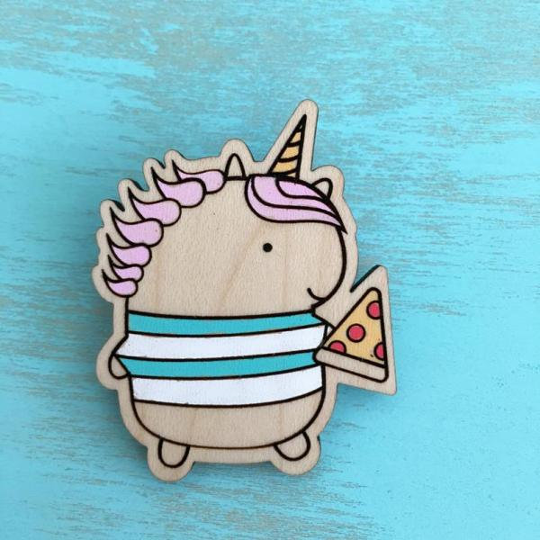 Unicorn Pizza Wood Pin