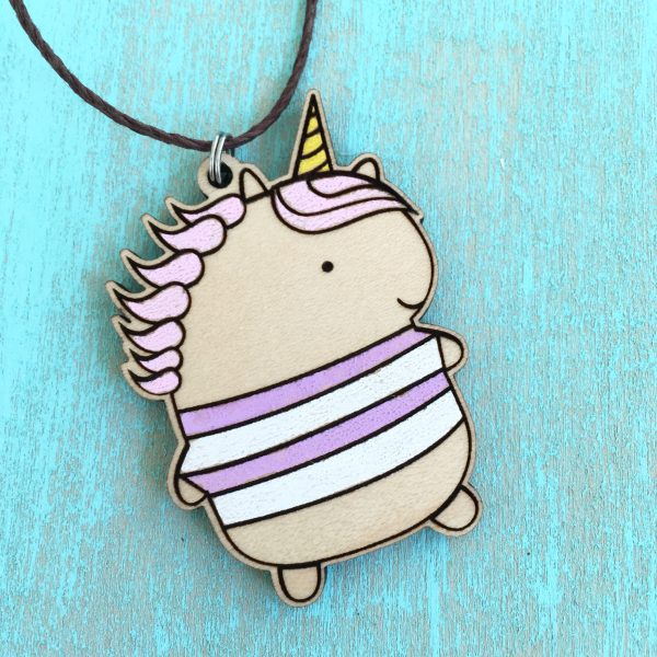 Unicorn Purple necklace wood