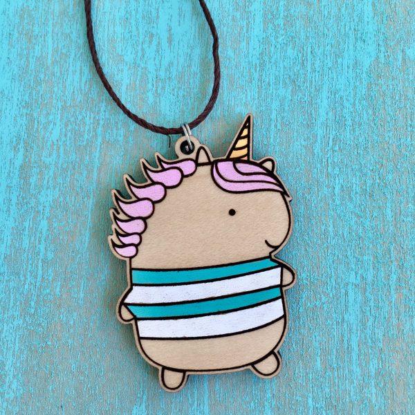 Unicorn Necklace Wood