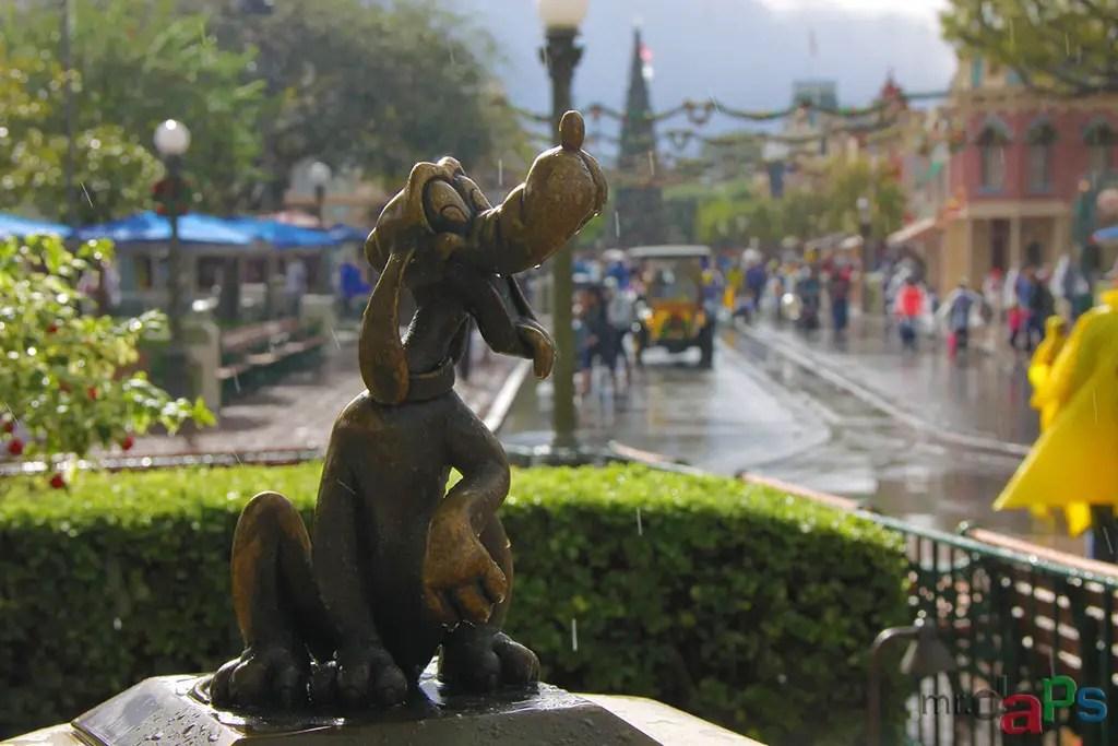 Pluto in the Rain on Main Street at Disneyland
