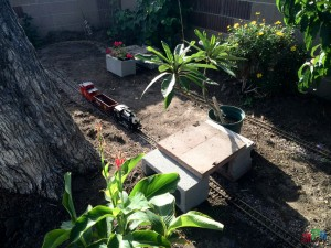 Mr. DAPs Garden Railway - First Attempt - Cinder Block Tunnel Foundations