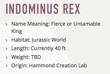 Indominous Rex Facts
