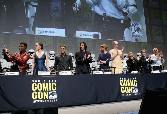 SAN DIEGO, CA - JULY 10: (L-R) Actors John Boyega, Daisy Ridley, Oscar Isaac, Adam Driver, Domhnall Gleeson, Gwendoline Christie, Carrie Fisher, Mark Hamill and Harrison Ford at the Hall H Panel for `Star Wars: The Force Awakens` during Comic-Con International 2015 at the San Diego Convention Center on July 10, 2015 in San Diego, California. (Photo by Jesse Grant/Getty Images for Disney) *** Local Caption *** John Boyega; Daisy Ridley; Oscar Isaac; Adam Driver; Domhnall Gleeson; Gwendoline Christie; Carrie Fisher; Mark Hamill; Harrison Ford