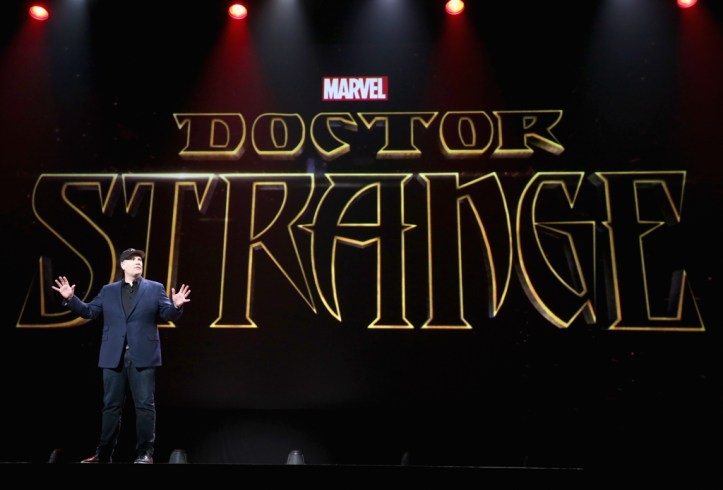 """ANAHEIM, CA - AUGUST 15: Producer Kevin Feige of CAPTAIN AMERICA: CIVIL WAR took part today in """"Worlds, Galaxies, and Universes: Live Action at The Walt Disney Studios"""" presentation at Disney's D23 EXPO 2015 in Anaheim, Calif. (Photo by Jesse Grant/Getty Images for Disney) *** Local Caption *** Kevin Feige"""